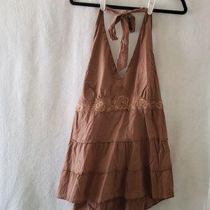 Super Fun - brown embroidery halter
